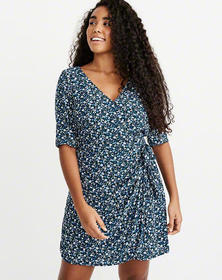 Wrap-Front Dress, NAVY FLORAL