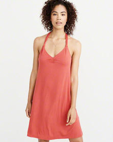 Back-Knot Swing Dress, RED