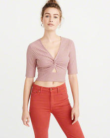 Knot-Front Ribbed Shirt, DUSTY PINK