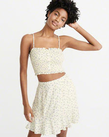 Smocked Crop Cami, Light Yellow Floral