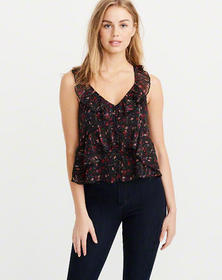 Ruffle V-Neck Shell, BLACK FLORAL WITH SHINE
