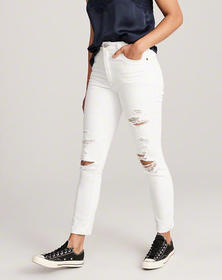 High Rise Slim Jeans, RIPPED WHITE