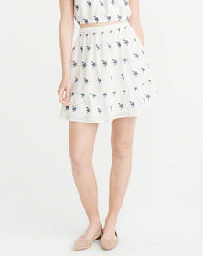Embroidered Floral Mini Skirt, WHITE FLORAL