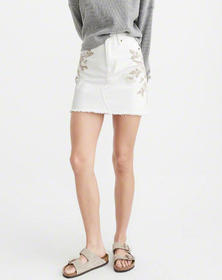Embroidered Denim Mini Skirt, Embroidered Off Whit