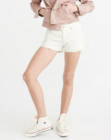 Low Rise Boyfriend Shorts, Ripped Off White