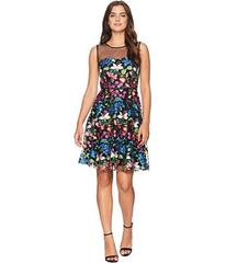 Tahari by ASL Mesh Embroidered Party Dress