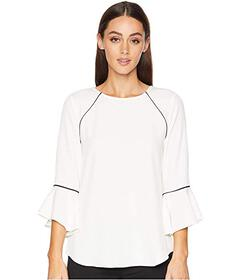 Calvin Klein Crew Neck Blouse w/ Flare Sleeve and