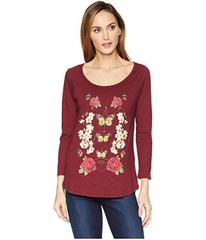 Lucky Brand Butterfly Floral Print Tee