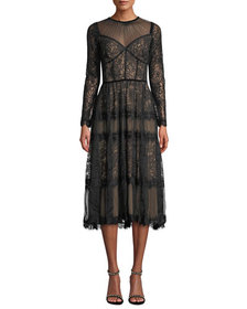 Long-Sleeve Lace & Chiffon Dress