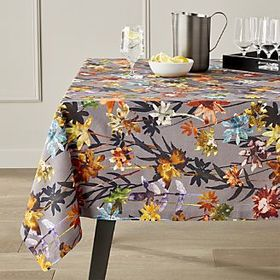 "Suki Grey Floral Print Tablecloth 60""x90"""