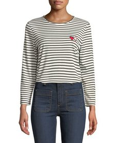 Twin Heart Striped Long-Sleeve Crewneck Tee
