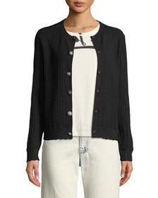 Crewneck Jewel-Button Ribbed Wool-Silk Cardigan