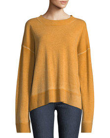 Oliver Crewneck Dropped-Shoulder Cashmere Pullover