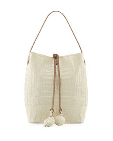 Medium Two-Tone Crocodile Bucket Bag w/ Rings