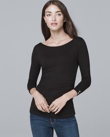 Dual-Neck Tee with Faux Pearls