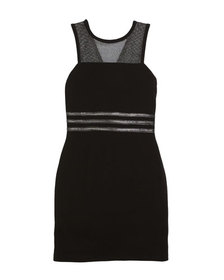 Manhattan Mesh-Yoke Sleeveless Dress, Size 8-16
