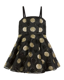 Textured Polka-Dot Spaghetti-Strap Dress, Size 8-1