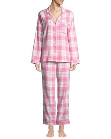 Plaid Flannel Classic Pajama Set with Metallic Det