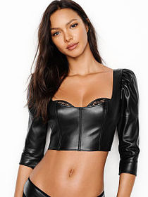 Very Sexy Faux-leather Bra Top