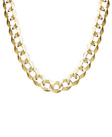 """22"""" Men's Curb Chain Necklace (7mm) in Solid 14k G"""