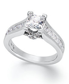 Certified Diamond Princess Cut Engagement Ring in