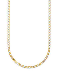 """Curb Chain 22"""" Necklace (3-3/5mm) in Solid 14k Gol"""