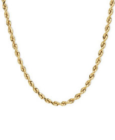 """14k Gold Necklace, 24"""" Diamond Cut Rope Chain (4mm"""