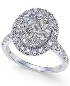 Diamond Oval Halo Cluster Engagement Ring (2 ct. t