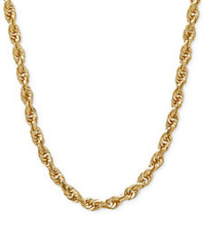 """030 Rope Chain 24"""" Necklace (4mm) in Solid 14k Gol"""