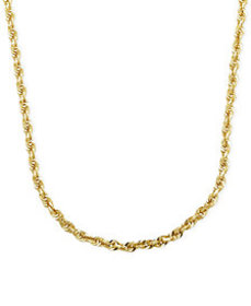 """Rope Chain 24"""" Necklace (3mm) in Solid 14k Gold"""