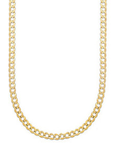 """Curb Chain 22"""" Necklace (5-3/4mm) in Solid 14k Gol"""