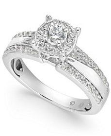 Diamond Halo Engagement Ring (3/4 ct. t.w.) in 14k