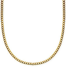 """22"""" Curb Link Chain Necklace in Solid 14k Gold"""