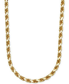 """3-1/3mm Rope Chain 24"""" Necklace in Solid 14k Gold"""