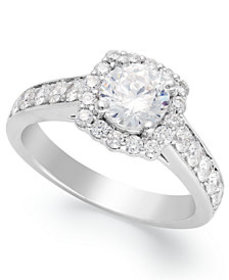 Diamond Halo Ring in 14k White Gold (1-1/2 ct. t.w