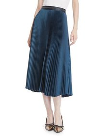 Brunello Cucinelli Accordion Pleated Midi Skirt w/