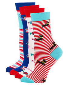 Neiman Marcus 4-Pack Holiday Motif Sock Set