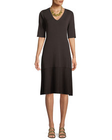 Eileen Fisher V-Neck Short-Sleeve Tencel® A-line D