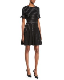 Oscar de la Renta Vertical-Dotted Knit Short-Sleev