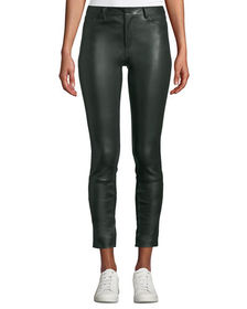 Theory Five-Pocket Skinny Bristol Leather Cropped