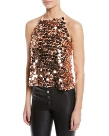 Ramy Brook Staci Sequined Halter Top