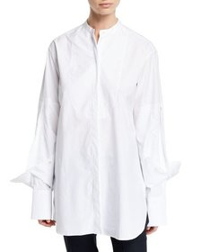 Rokh Folded-Cuff Cotton-Poplin Button-Front Blouse