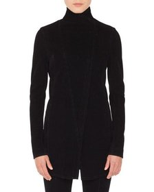 Akris punto Zip-Front Long-Sleeve Houndstooth Velv