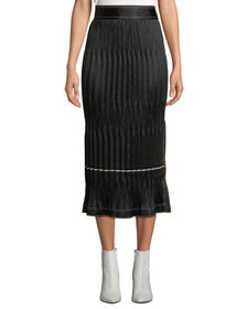 Helmut Lang Crinkle Pleated Side-Slit Midi Skirt