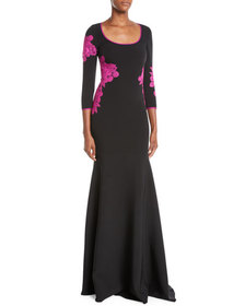 NK32 Naeem Khan Scoop-Neck Gown w/ Floor Lace