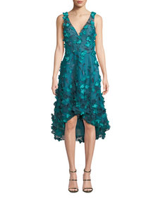 Marchesa Notte Sleeveless High-Low 3D Flower Dress