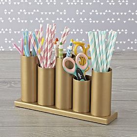Gold Metal Storage Caddy