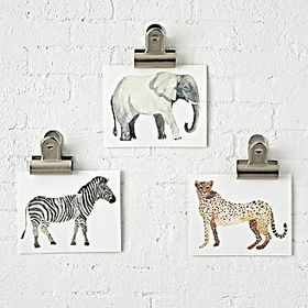 Safari Unframed Wall Art, Set of 3