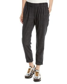Brunello Cucinelli Plaid Wool Pull-On Pants w/ Mon