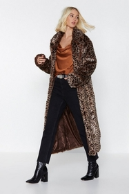 It's Your Meow-ment Faux Fur Leopard Coat